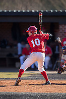 Colin Rosenbaum (10) of the Belmont Abbey Crusaders at bat against the Shippensburg Raiders at Abbey Yard on February 8, 2015 in Belmont, North Carolina.  The Raiders defeated the Crusaders 14-0.  (Brian Westerholt/Four Seam Images)