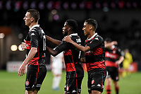 16th April 2021; Bankwest Stadium, Parramatta, New South Wales, Australia; A League Football, Western Sydney Wanderers versus Brisbane Roar; Mitch Duke and Keanu Baccus of Western Sydney Wanderers celebrate with teammates  Bruce Kamau of Western Sydney Wanderers scores in the 23rd minute to make it 1-1