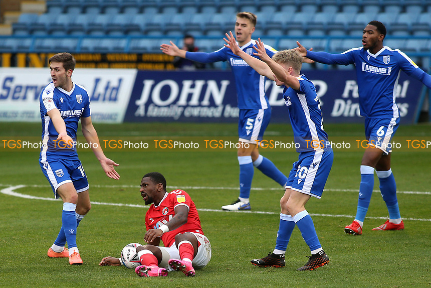 Gillingham players appeal for handball as Charlton's Omar Bogle sheepishly looks at the referee during Gillingham vs Charlton Athletic, Sky Bet EFL League 1 Football at the MEMS Priestfield Stadium on 21st November 2020