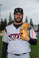 Lake Elsinore Storm starting pitcher Pedro Avila (14) poses for a photo before a California League game against the Rancho Cucamonga Quakes at LoanMart Field on May 20, 2018 in Rancho Cucamonga, California. Rancho Cucamonga defeated Lake Elsinore 6-2. (Zachary Lucy/Four Seam Images)