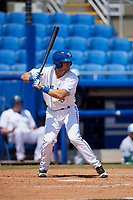 Dunedin Blue Jays first baseman Nash Knight (35) at bat during a game against the Daytona Tortugas on April 22, 2018 at Dunedin Stadium in Dunedin, Florida.  Daytona defeated Dunedin 5-1.  (Mike Janes/Four Seam Images)
