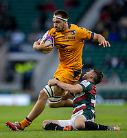 21st May 2021; Twickenham, London, England; European Rugby Challenge Cup Final, Leicester Tigers versus Montpellier; Florian Verhaeghe of Montpellier Rugby is tackled by Richard Wigglesworth of Leicester Tigers