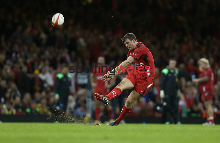 Wales outside half Dan Biggar kicks a late first half conversion.<br /> Dove Men Series 2014<br /> Wales v Australia<br /> Millennium Stadium<br /> 08.11.14<br /> ©Steve Pope-SPORTINGWALES