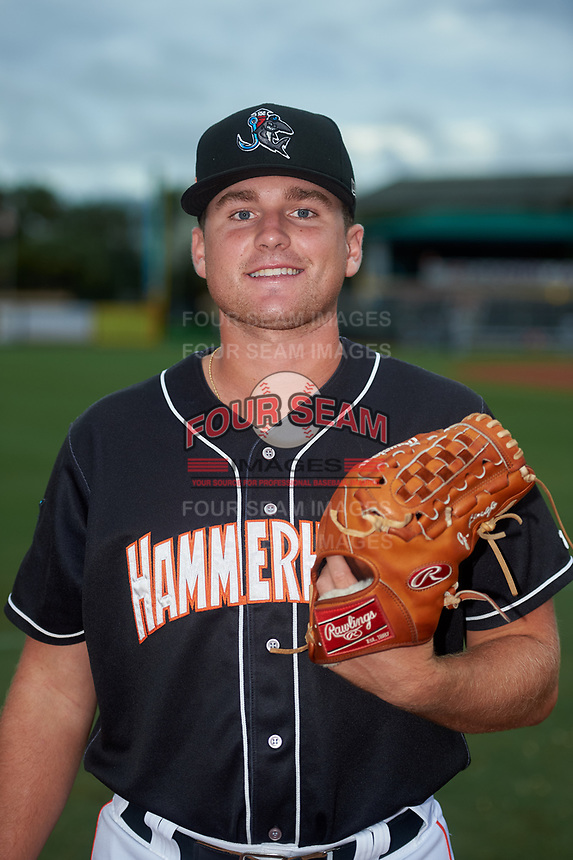 Jupiter Hammerheads pitcher Jeff Lindgren (14) poses for a photo before a Florida State League game against the Lakeland Flying Tigers on August 12, 2019 at Roger Dean Chevrolet Stadium in Jupiter, Florida.  Jupiter defeated Lakeland 9-3.  (Mike Janes/Four Seam Images)