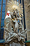 Two motifs throughout historic Vienna are iconography commemorating the defeat of the Turks in 1529 and again in 1683--and surviving the plagues of 1541, 1629, and 1679. This Johannes Capistrano exterior pulpit at Stephansdom celebrated a Victory over the Turks at belgrade in 1456.