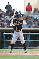 Michael Benjamin (21) of the Modesto Nuts bats during a game against the Lancaster JetHawks at The Hanger on April 25, 2015 in Lancaster, California. Lancaster defeated Modesto, 5-4. (Larry Goren/Four Seam Images)