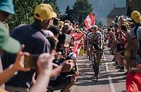 """Daryl Impey (RSA/Mitchelton Scott) coming through """"Dutch Corner"""" (#7) on Alpe d'Huez<br /> <br /> Stage 12: Bourg-Saint-Maurice / Les Arcs > Alpe d'Huez (175km)<br /> <br /> 105th Tour de France 2018<br /> ©kramon"""