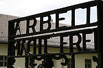 """""""Work Makes You Free."""" The infamous slogan on the gate of the Dachau concentration camp. Used primarily for political prisoners, more than 206,000 people passed through this gate, and nearly 32,000 of them died there. Dachau, Germany Oct. 4, 2007."""
