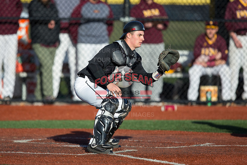 Rutgers Scarlet Knights catcher Nick Matera (7) waits for a throw at home plate during the game against the Iona Gaels at City Park on March 8, 2017 in New Rochelle, New York.  The Scarlet Knights defeated the Gaels 12-3.  (Brian Westerholt/Four Seam Images)