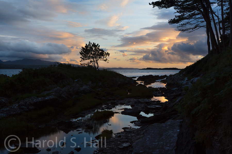 The Ring of Kerry is a 110+ mile circular drive in County Kerry.  It will take you along the coast as well as some very scenic inland areas.  This is a stream and pools taken at low tide outside of Kenmare, Ireland.