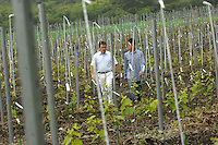 Denis Dubourdieu visits a new vineyard of Koshu grapes  in Yamanashi Prefecture, mount Fuji area, Japan.  Monsiour Dubourdieu is developing a new Japanese wine designed to be drank with Japanese cuisine.