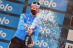 Race leader Tadej Pogacar (SLO) UAE Team Emirates retains the Maglia Azzurra at the end of Stage 5 of Tirreno-Adriatico Eolo 2021, running 205km from Castellalto to Castelfidardo, Italy. 14th March 2021. <br /> Photo: LaPresse/Gian Mattia D'Alberto   Cyclefile<br /> <br /> All photos usage must carry mandatory copyright credit (© Cyclefile   LaPresse/Gian Mattia D'Alberto)
