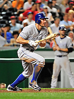 21 June 2010: Kansas City Royals left fielder Scott Podsednik hits a single in the 8th inning against the Washington Nationals at Nationals Park in Washington, DC. The Nationals edged out the Royals 2-1 to take the first game of their 3-game interleague series and snap a 6-game losing streak. Mandatory Credit: Ed Wolfstein Photo