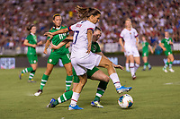 PASADENA, CA - AUGUST 4: Tobin Heath #17 dribbles into the box during a game between Ireland and USWNT at Rose Bowl on August 3, 2019 in Pasadena, California.