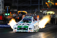 Nov. 1, 2008; Las Vegas, NV, USA: NHRA funny car driver Ashley Force launches off the starting line during qualifying for the Las Vegas Nationals at The Strip in Las Vegas. Mandatory Credit: Mark J. Rebilas-