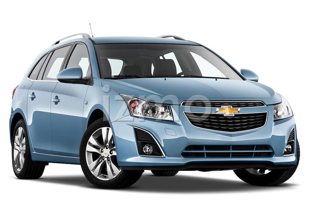 Low aggressive passenger side front three quarter view of a 2013 Chevrolet Cruze SW LTZ wagon