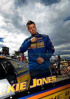 Oct. 31, 2008; Las Vegas, NV, USA: NHRA pro stock driver Rickie Jones during qualifying for the Las Vegas Nationals at The Strip in Las Vegas. Mandatory Credit: Mark J. Rebilas-