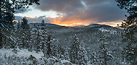 Taken from the street across from our house, this image shows the rays of the setting sun reflecting off of the clouds over the Sierra Nevada range just west of Donner Pass.  The first storm of the season left almost a foot and a half of snow on the surrounding mountains.