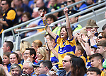 An enthusiastic Clare fan celebrates the first goal  during their Senior quarter final against Tipperary at Pairc Ui Chaoimh. Photograph by John Kelly.