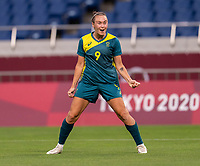 TOKYO, JAPAN - JULY 24: Caitlin Foord #9 of Australia celebrates during a game between Australia and Sweden at Saitama Stadium on July 24, 2021 in Tokyo, Japan.