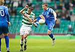 Celtic v St Johnstone....26.12.10  .Chris Millar battles with Niall McGinn.Picture by Graeme Hart..Copyright Perthshire Picture Agency.Tel: 01738 623350  Mobile: 07990 594431