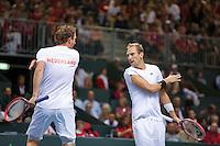 Switserland, Genève, September 19, 2015, Tennis,   Davis Cup, Switserland-Netherlands, Doubles: Dutch team Matwe Middelkoop/Thiemo de Bakker (R)  photo 8<br /> Photo: Tennisimages/Henk Koster