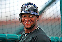 1 March 2009: Florida Marlins' second baseman Emilio Bonifacio prepares to take batting practice prior to a Spring Training game against the St. Louis Cardinals at Roger Dean Stadium in Jupiter, Florida. The Cardinals outhit the Marlins 20-13 resulting in a 14-10 win for the Cards. Mandatory Photo Credit: Ed Wolfstein Photo