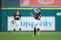Hunter Stovall (13) of the Mississippi State Bulldogs catches a fly ball against the Louisiana Ragin' Cajuns in game three of the 2018 Shriners Hospitals for Children College Classic at Minute Maid Park on March 2, 2018 in Houston, Texas.  The Bulldogs defeated the Ragin' Cajuns 3-1.   (Brian Westerholt/Four Seam Images)