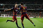 Barcelona´s Iniesta celebrates a goal with Neymar Jr during 2015-16 La Liga match between Real Madrid and Barcelona at Santiago Bernabeu stadium in Madrid, Spain. November 21, 2015. (ALTERPHOTOS/Victor Blanco)