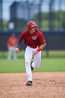 GCL Nationals Mason Doolittle (16) running the bases during a Gulf Coast League game against the GCL Astros on August 9, 2019 at FITTEAM Ballpark of the Palm Beaches training complex in Palm Beach, Florida.  GCL Nationals defeated the GCL Astros 8-2.  (Mike Janes/Four Seam Images)