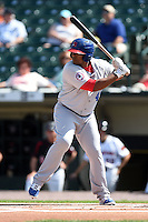 Buffalo Bisons outfielder Cory Aldridge (49) at bat during the first game of a doubleheader against the Rochester Red Wings on July 6, 2014 at Frontier Field in Rochester, New  York.  Rochester defeated Buffalo 6-1.  (Mike Janes/Four Seam Images)