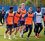 09.05.2019 Rangers training: Scott Arfield with youngsters Dapo Mebude and Josh McPake