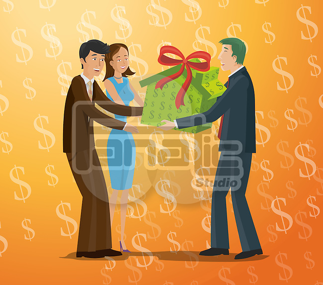 Real estate agent presenting home in gift box