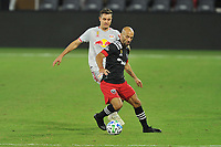WASHINGTON, DC - SEPTEMBER 12: Federico Higuain #2 of D.C. United battles for the ball with Aaron Long #33 of New York Red Bulls during a game between New York Red Bulls and D.C. United at Audi Field on September 12, 2020 in Washington, DC.
