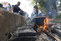 Idomeni / Greece 04042016<br /> Refugees living along the railway lines.<br /> Photo Livio Senigalliesi