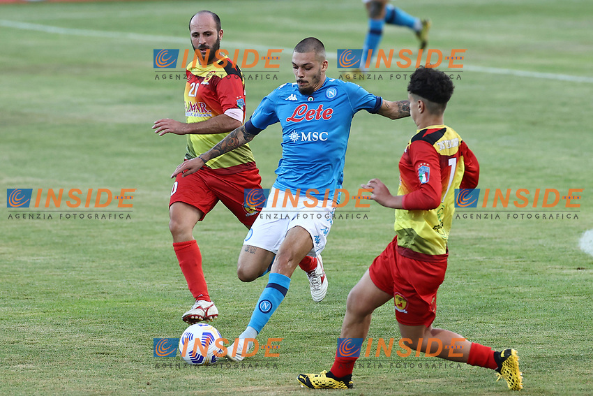 Gianluca Gaetano of SSC Napoli in action during the friendly football match between SSC Napoli and Castel di Sangro Cep 1953 at stadio Patini in Castel di Sangro, Italy, August 28, 2020. <br /> Photo Cesare Purini / Insidefoto