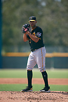 Pittsburgh Pirates starting pitcher Dario Agrazal (39) gets ready to deliver a pitch during a Florida Instructional League game against the Detroit Tigers on October 2, 2018 at the Pirate City in Bradenton, Florida.  (Mike Janes/Four Seam Images)