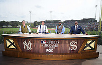 DYERSVILLE, IOWA - AUGUST 12: Fox MLB Pregame broadcasters Kevin Burkhardt, Alex Rodriguez, David Ortiz, and Frank Thomas at the Fox broadcast of the MLB Field of Dreams game on August 12, 2021 in Dyersville, Iowa. (Photo by Frank Micelotta/Fox Sports/PictureGroup)