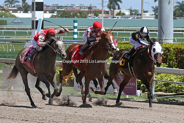 March 28, 2015:  Topara (IN) with jockey Corey Lanerie on board breaks his maiden on Florida Derby Day at Gulfstream Park  in Hallandale Beach, Florida.    Liz Lamont/ESW/CSM