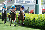May 3, 2014: Rider Javier Castellano and Coffee Clique (far right) ride through the finish line to win the Churchill Distaff Turf Mile Stakes on Kentucky Derby Day at Churchill Downs in Louisville, KY. Logan Riely/ESW/CSM