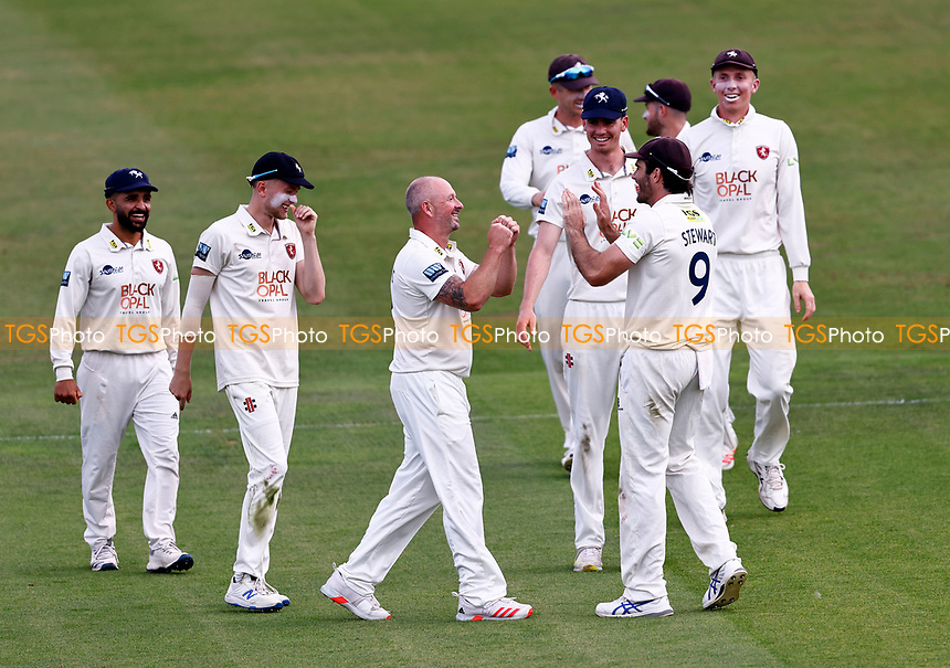 Darren Stevens (C) of Kent is congratulated after bowling Daryl Mitchell during Kent CCC vs Worcestershire CCC, LV Insurance County Championship Division 3 Cricket at The Spitfire Ground on 6th September 2021