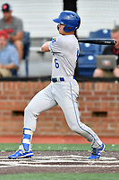 Burlington Royals Michael Massey (6) swing at a pitch during game one of the Appalachian League Championship Series against the Johnson City Cardinals at TVA Credit Union Ballpark on September 2, 2019 in Johnson City, Tennessee. The Royals defeated the Cardinals 9-2 to take the series lead 1-0. (Tony Farlow/Four Seam Images)