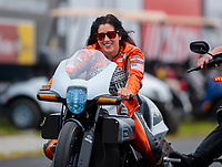 Aug 31, 2019; Clermont, IN, USA; NHRA pro stock motorcycle rider Angelle Sampey during qualifying for the US Nationals at Lucas Oil Raceway. Mandatory Credit: Mark J. Rebilas-USA TODAY Sports