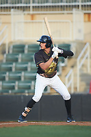 Craig Dedelow (14) of the Kannapolis Intimidators at bat against the Hagerstown Suns at Kannapolis Intimidators Stadium on May 4, 2018 in Kannapolis, North Carolina.  The Intimidators defeated the Suns 11-0.  (Brian Westerholt/Four Seam Images)