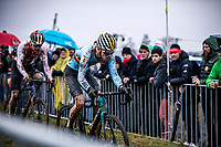Thibau Nys (BEL) and Dario Lillo (SUI)<br /> <br /> Men's Junior race<br /> UCI 2020 Cyclocross World Championships<br /> Dübendorf / Switzerland<br /> <br /> ©kramon