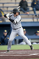 Western Michigan Broncos designated hitter Logan Hudon (14) at bat against the Michigan Wolverines on March 18, 2019 in the NCAA baseball game at Ray Fisher Stadium in Ann Arbor, Michigan. Michigan defeated Western Michigan 12-5. (Andrew Woolley/Four Seam Images)