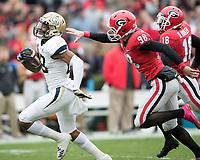 Athens, Georgia - November 24, 2018: Sanford Stadium, the number 5 ranked University of Georgia Bulldogs play the Georgia Tech Yellow Jackets.