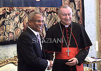 Secretary of State Pietro Parolin meets with Cape Verde Prime Minister Jose Maria Neves during a private audience at the Vatican on April 3, 2014.