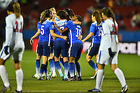 Frisco, TX. - February 15, 2016: The U.S. Women's National team takes 9-0 lead over Puerto Rico in second half action in CONCACAF Women's Olympic Qualifying at Toyota Stadium.