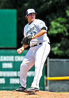 15 July 2010: Vermont Lake Monsters' pitcher Mark Herrera on the mound against the Aberdeen IronBirds at Centennial Field in Burlington, Vermont. The Lake Monsters rallied in the bottom of the 9th inning to defeat the IronBirds 7-6 notching their league leading 20th win of the 2010 NY Penn League season. Mandatory Credit: Ed Wolfstein Photo